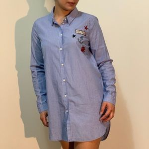 Long Bottom Down Shirt with Patch